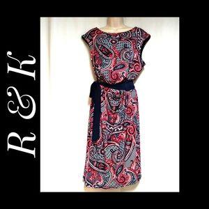 R & K Mock Wrap Style Dress Paisley Multi Size XL